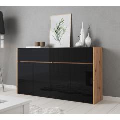 Dressoir Morey - Zwart - Eiken - 165 cm - ACTIE