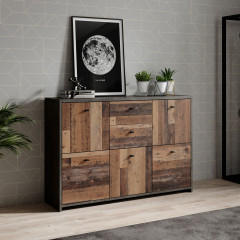 Dressoir Sahara 4 - Old wood - Grijs - 114 cm