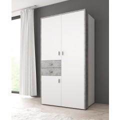 Kledingkast Bello - Wit - Beton - 108 cm