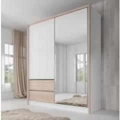 Kledingkast Sento - Wit - Licht eiken - 180 cm
