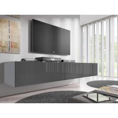 TV-Meubel Flame - Grijs - Wit - 200 cm