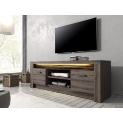 TV-Meubel Invido - Donker eiken - 137 cm - met LED-verlichting