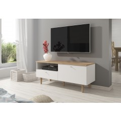 TV-Meubel Lamar - Wit - Licht eiken - 120 cm