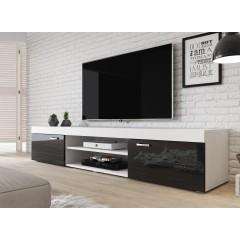 TV-Meubel Mantel - Wit - Zwart - 200 cm