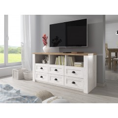 TV-Meubel Parello - Wit - Eiken - 130 cm