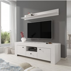 TV-Meubel Ruby + wandplank - Wit eiken - 155 cm
