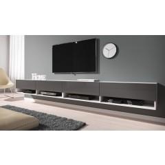 TV-Meubel Asino - Grijs - Wit - 280 cm