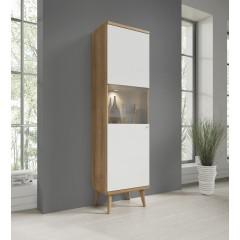 Vitrinekast Primavera - Wit - Licht eiken - 50 cm
