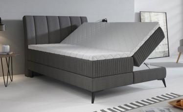 Boxspring Acotta - Grijs - Stof - 140x200 cm - Compleet