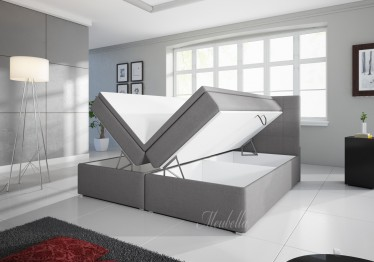 Boxspring Asti - Licht grijs - met gasliftsysteem - 160 x 200 cm
