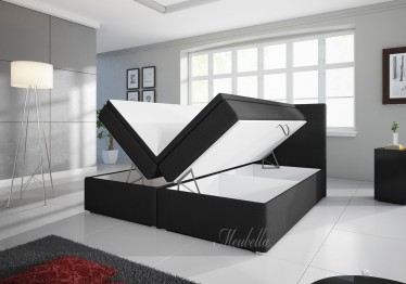 Boxspring Asti - Zwart - met gasliftsysteem - 160 x 200 cm