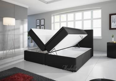 Boxspring Asti - Zwart - met gasliftsysteem - 180 x 200 cm