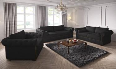 Bankstel Winston - Zwart - Stof - Showroommodel