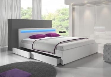 Bed Alexander - Wit - 4 opberglades - 140x200 cm