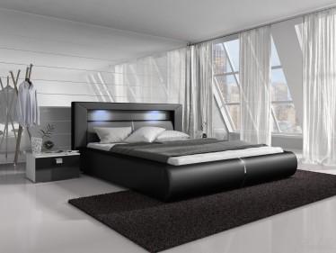 Tweepersoonsbed Cylano - Zwart - 140x200 cm
