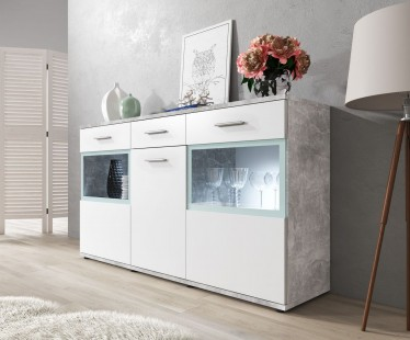 Dressoir Blossom - Wit - Betonlook - 154 cm - ACTIE