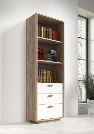 Boekenkast Carmani - Wit - Licht eiken - 65 cm