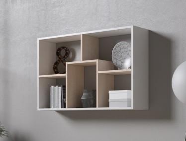Boekenkast Duno 2 - Wit - Licht eiken - 97 cm