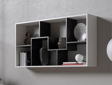 Boekenkast Duno 3 - Wit - Zwart - 122 cm