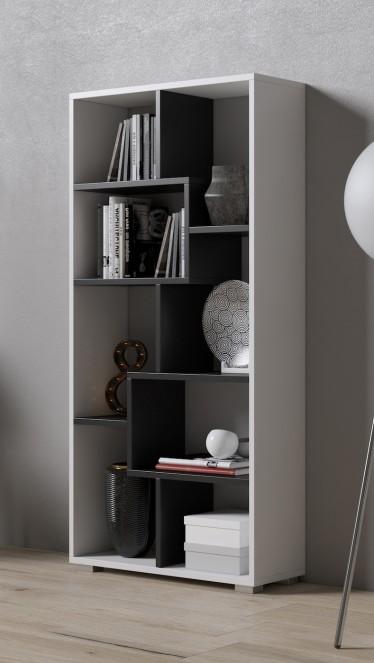 Boekenkast Duno 4 - Wit - Zwart - 122 cm