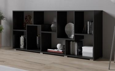 Boekenkast Duno - Zwart - 163 cm