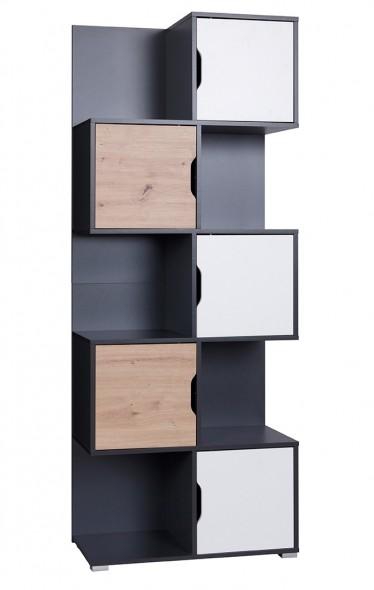 Boekenkast Ivano - Grijs - Wit - Eiken - 78,5 cm