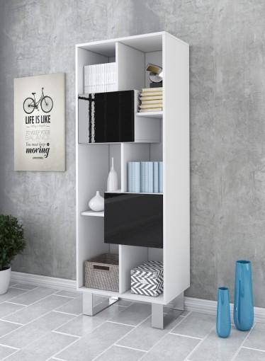Boekenkast Knight - Wit - Zwart - 60 cm