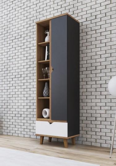 Boekenkast Macon - Grijs - Wit - Eiken - 60 cm