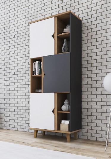 Boekenkast Macon - Grijs - Wit - Eiken - 80 cm
