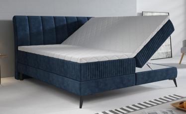 Boxspring Acotta - Blauw - Velvet - 180x200 cm - Compleet