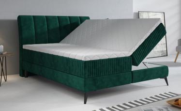 Boxspring Acotta - Groen - Velvet - 160x200 cm - Compleet