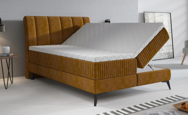 Boxspring Acotta - Okergeel - Velvet - 140x200 cm - Compleet