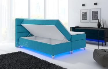 Boxspring Alan - Turquoise - Stof - met gasliftsysteem - 180 x 200 cm