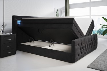 Boxspring Andre - Zwart - RGB Led - 160x200 cm