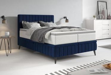 Boxspring Chanel - Blauw - Fluweel - 140x200 cm - met gasliftsysteem - Compleet - ACTIE