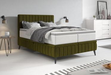 Boxspring Chanel - Groen - Fluweel - 140x200 cm - met gasliftsysteem - Compleet - ACTIE