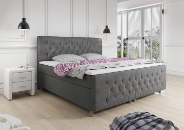 Boxspring Charlie - Grijs - Stof - 160 x 200 cm - Showroommodel