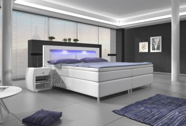 Boxspring Cylano - Wit - Blauw LED - 160 x 200 cm - Showroom