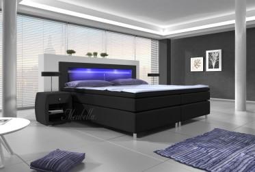 Boxspring Cylano - Zwart - Blauw LED - 160x200 cm