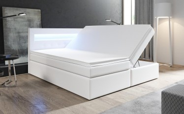 Boxspring Monaco - Wit - 140 x 200 cm - Met gasliftsysteem - Compleet