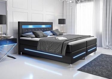 Boxspring Monza - LED - Zwart - 140 x 200 cm - Compleet