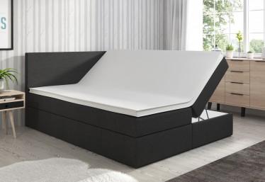 Boxspring Salt - Zwart - 160 x 200 cm - Met gasliftsysteem - Compleet - ACTIE