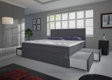 Boxspring Sona - Grijs - 4 opberglades - 160x200 cm - Showroommodel