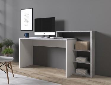 Bureau Bello - Beton - Wit - 170 cm
