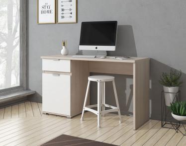 Bureau Jennifer - Wit - Licht eiken - 130 cm