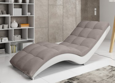 Chaise longue - Hannah - Bruin - Wit - Leer - Stof