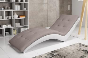 Chaise longue - Hannah - Bruin - Wit - Leer - Stof