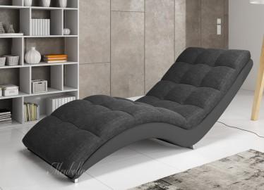 Chaise longue - Hannah - Grijs - Leer - Stof