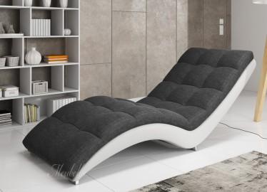 Chaise longue - Hannah - Grijs - Wit - Leer - Stof
