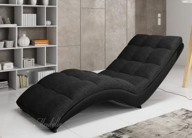 Chaise longue - Hannah - Zwart - Leer - Stof